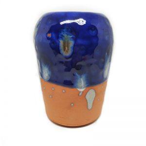 Jarrón cerámica hecho a mano color azul