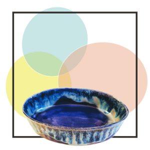 joyero de cerámica azul