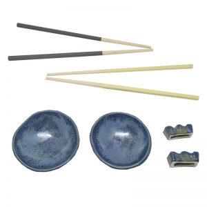 Cuencos soja, apoya palillos y palillos de madera personalizados