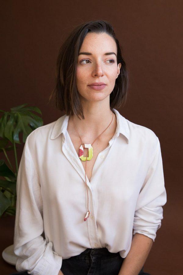 Collar original rosa y verde