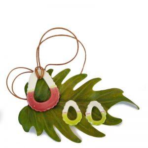 Pendientes y collar rosa y verde