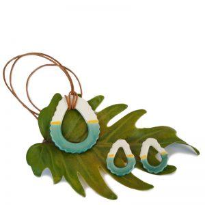 Pendientes y collar color turquesa