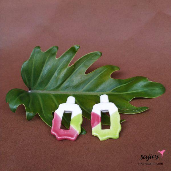 Pendientes rosa y verde